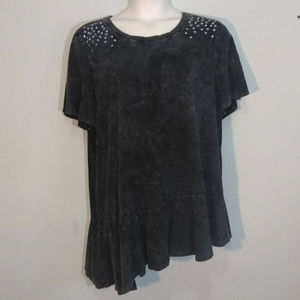 LANE BRYANT Gray Mottled Top